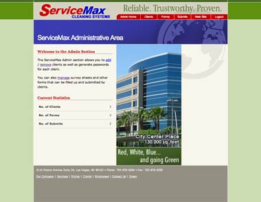 Service Max's Administrative Homepage